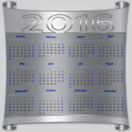 12: Vector calendar for 2016 year,  Sunday first, american week, 12 months, silver metallic scroll
