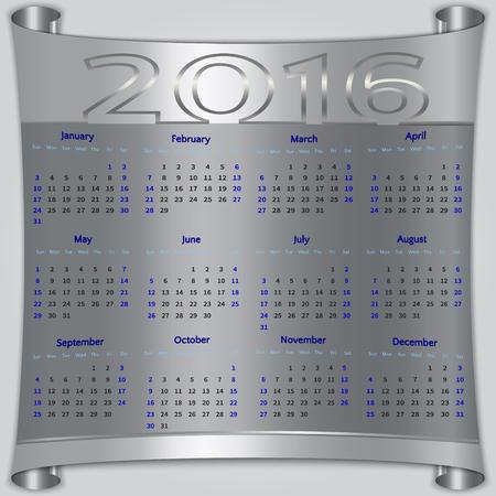 Vector calendar for 2016 year,  Sunday first, american week, 12 months, silver metallic scroll