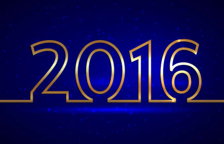 Vector illustration of 2016 new year gold and blue greeting billboard with gold wire Çizim