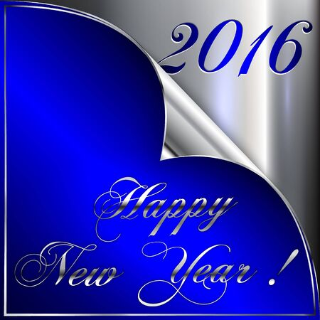 Vector illustration of 2016 new year silver chrome and blue greeting card with curled corner