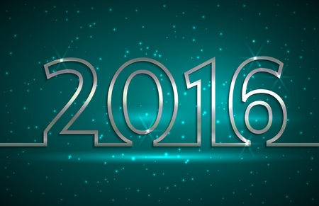 Vector illustration of 2016 new year  greeting billboard with gold wire on blue background