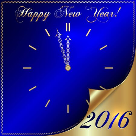 Vector illustration of 2016 new year gold and blue greeting card in form of the clock with  with curled corner Çizim