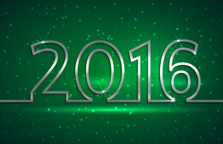 Vector illustration of 2016 new year  greeting billboard with silver wire on green background