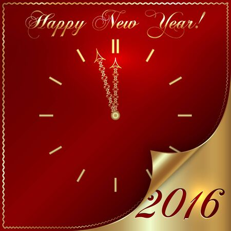 Vector illustration of 2016 new year gold and red greeting card in form of the clock with curled corner