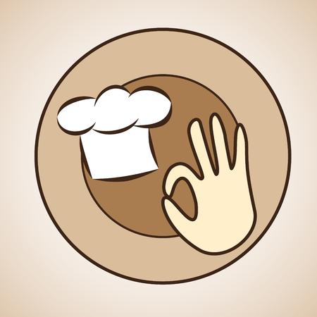 Vector of chef cap and okay sign in beige colors Иллюстрация