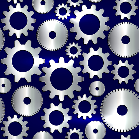 Vector seamless background in tech style with golden gears on dark background