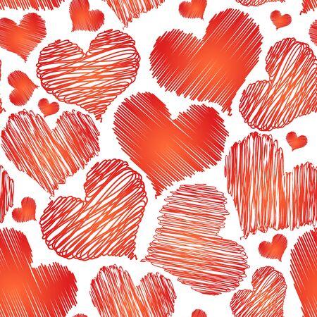 Fondo inconsútil del vector abstracto amor corazón rojo de San Valentín en el fondo blanco