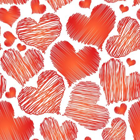 Vector abstract love red heart seamless background for saint valentine on white background