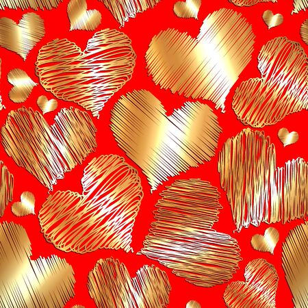 love gold: Vector abstract love gold heart seamless background for saint valentine on red background