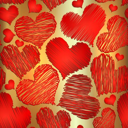 Vector abstract love red heart seamless background for saint valentine on golden background