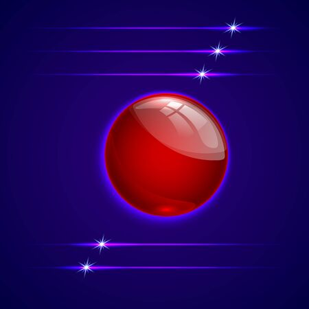 abstract blue background with red glass round sphere button Çizim
