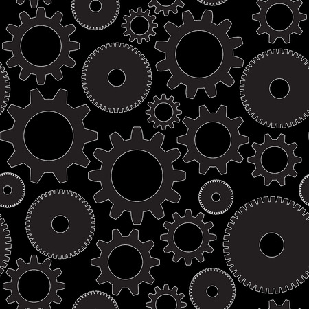 seamless background in tech style with gray gears on dark background