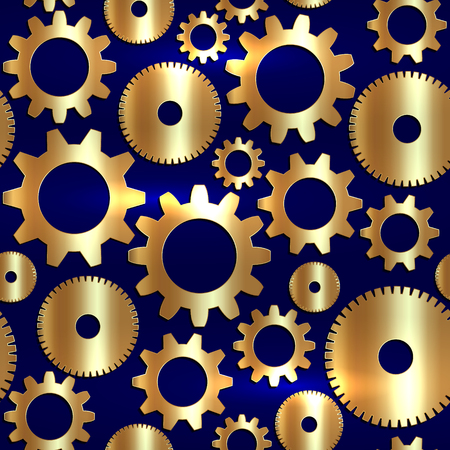 seamless background in tech style with golden gears on dark blue background