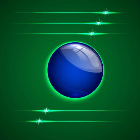 abstract green background with blue glass round sphere button