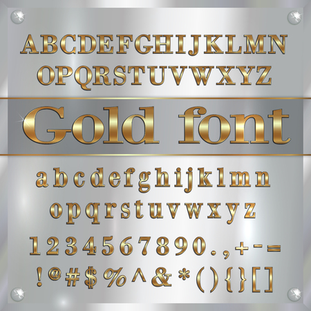 gold coated alphabet letters, digits and punctuation on silver metallic background