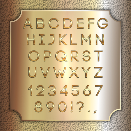 gold coated alphabet letters, digits and punctuation on brass metallic plate