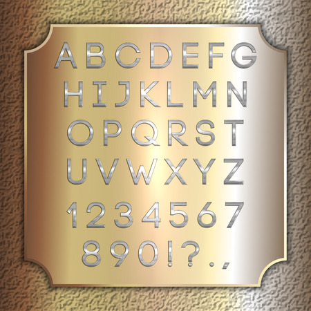 silver coated alphabet letters, digits and punctuation on brass metallic plate Çizim