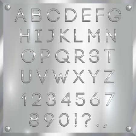 silver coated alphabet capital letters, digits and punctuation on white metallic background