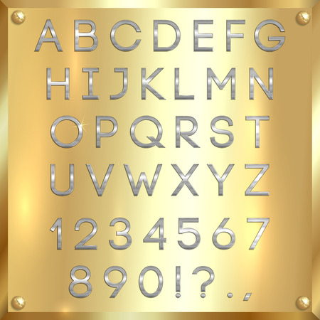 silver coated alphabet capital letters, digits and punctuation on gold metallic background