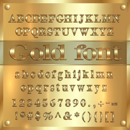 gold coated alphabet letters, digits and punctuation on golden metallic background Illustration