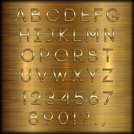 gold coated alphabet capital letters, digits and punctuation on copper brushed metallic background Illustration
