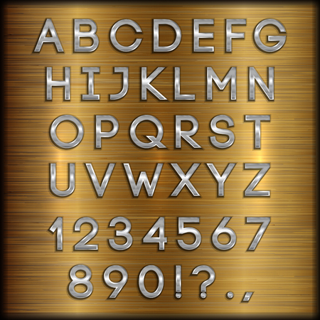 copper coated: thin silver coated alphabet capital letters, digits and punctuation on copper brushed metallic background