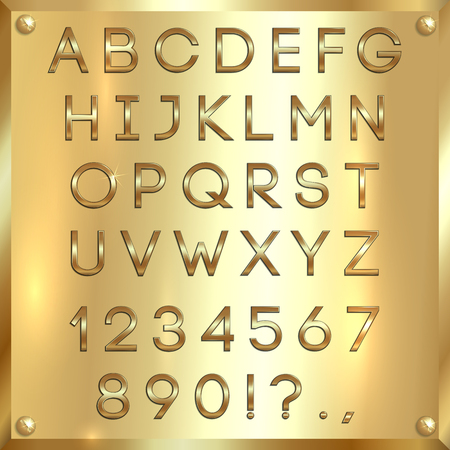thin golden coated alphabet capital letters, digits and punctuation on gold metallic background