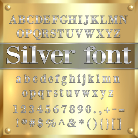 silver coated alphabet letters, digits and punctuation on golden metallic background Illustration