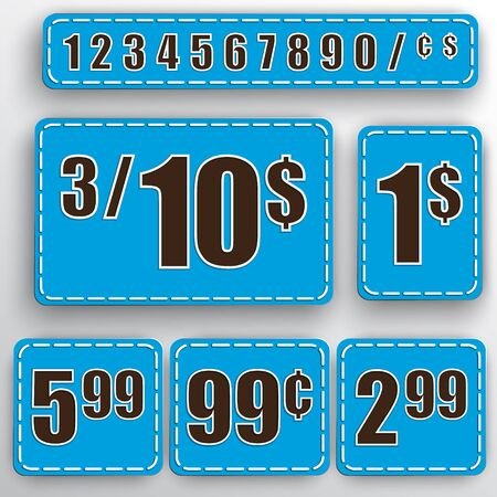 abstract set of blue price stickers with colorful background, numbers, dollars and cents