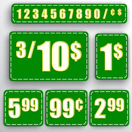 abstract set of green price stickers with colorful background, numbers, dollars and cents Illustration
