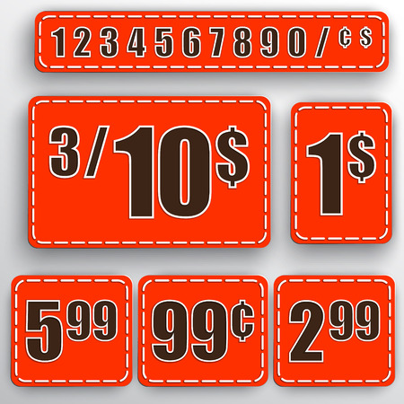 abstract set of red price stickers with colorful background, numbers, dollars and cents