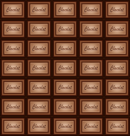 A large bar of chocolate. Background with chocolate. Slices of chocolate. Sweet food photo concept. Illustration