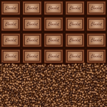 Chocolate pieces coffee beans background Çizim