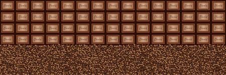 A large bar of chocolate. Background with chocolate and coffee beans. Slices of chocolate. Sweet food photo concept.