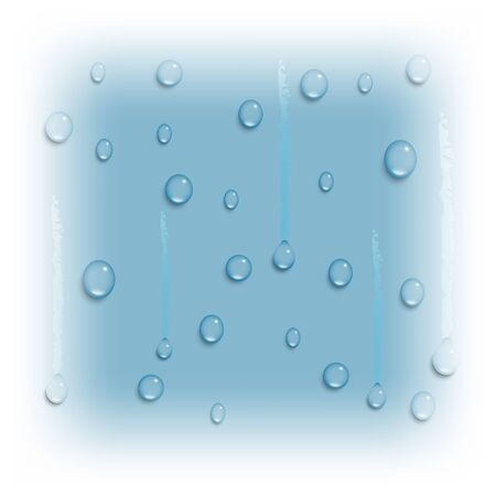 water drops on blue glass background, fresh and clear