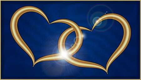 Two Golden Hearts on Blue Velvet into a box with gold frame