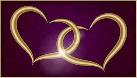 Two Golden Hearts on Purple Velvet into a box with gold frame.