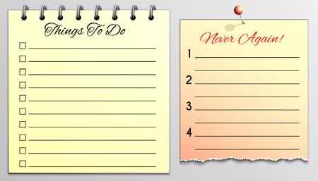 Dingen om te doen Lijst en nooit meer in geel blokpapier. Stock Illustratie