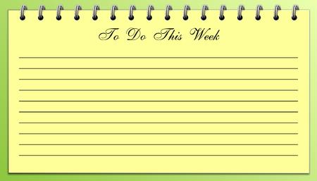 Lijst met dingen om te doen deze week Geel op groen pad