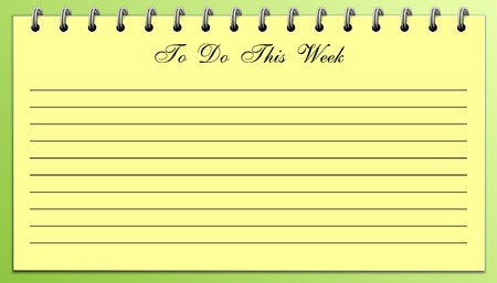 Things To Do List This Week Yellow on Green pad