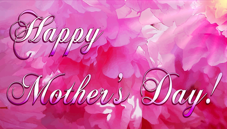 Mother's Day card design on pink background. Çizim