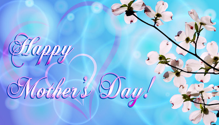 Mother's day card design on blue background with flowers