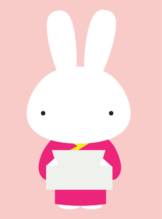 Rabbit holding a message board Stock Vector - 18477976