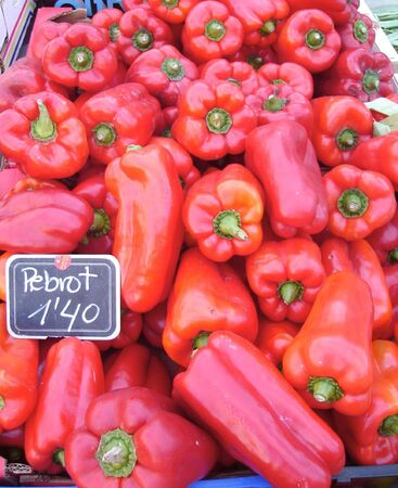 Red peppers in the Market Stock Photo
