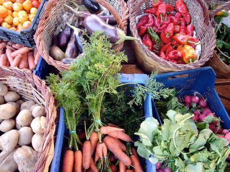 vegetables in baskets