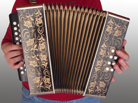 playing the accordion - isolated musician with squeezebox