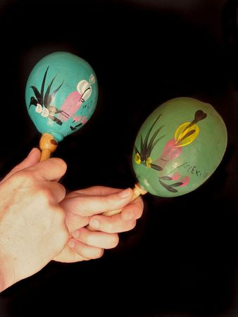 Mexican maracas made from coconut shells