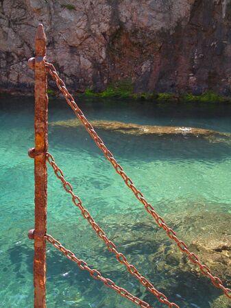 Rusty chain fence -coastal Stock Photo - 918079