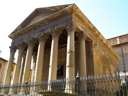 Romanesque Temple Vic Stock Photo