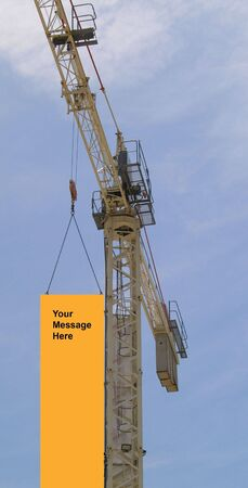 Crane with a hanging  message space Stock Photo